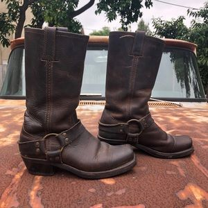 FRYE Brown Leather Strapped Boots